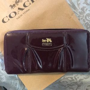Coach - deep plumb patent leather wallet